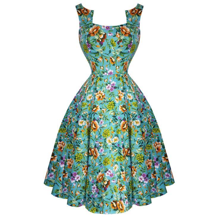 Hearts & Roses London Turquoise Blue Floral Retro 1950S Flared Tea Dress Uk