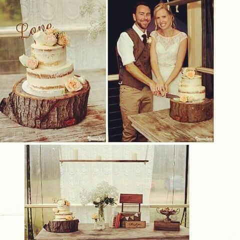 Rustic wedding. Naked cake on timber slice round. Wishing well with Thank you plaque.
