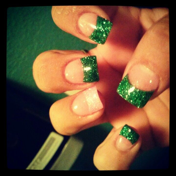 Green and pink glitter acrylic nails These are my own Nails done by my Nail Lady! @MarySuperNails