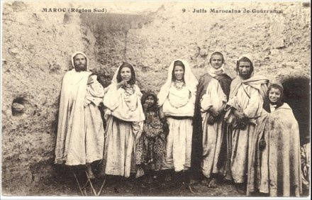 French Postcard featuring Southern Moroccan Jews. The Jews of Morocco dates back more than 2,000 years.   In 1032 C.E. 6000 Jews were murdered by Islamic armies. In Fez in 1146, 120,000 Jews were slaughtered. In 1465 thousands more Jews were killed, the Muslim mobs leaving only 11 Jews alive.
