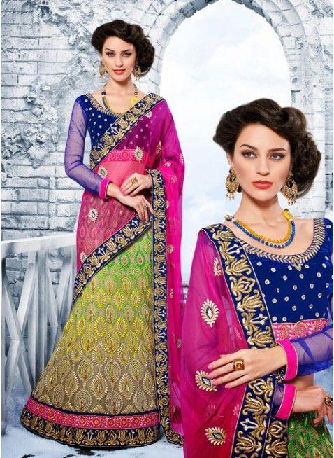 Tantalizing Deep Pink & Beige Embroidered #Lehenga #Saree #bridallehenga #ethnicwear #womenfashion #clothing #fashion