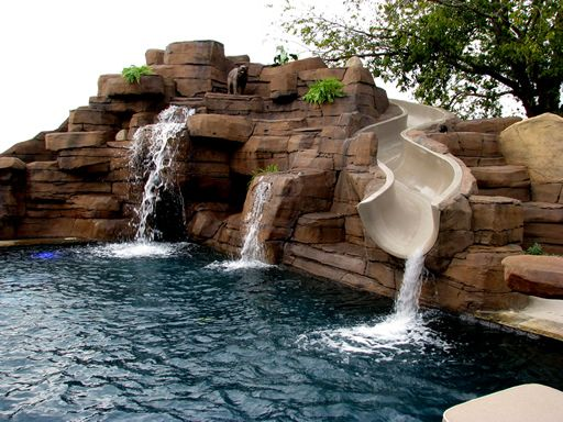 Backyard Pools With Slides And Waterfalls Pools Slides