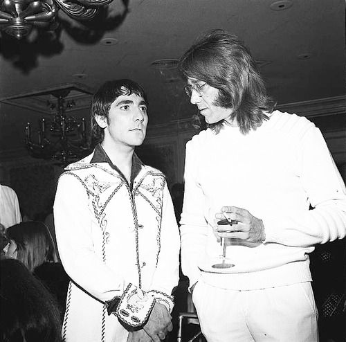 Keith Moon and Ray Manzarek. August 1974.