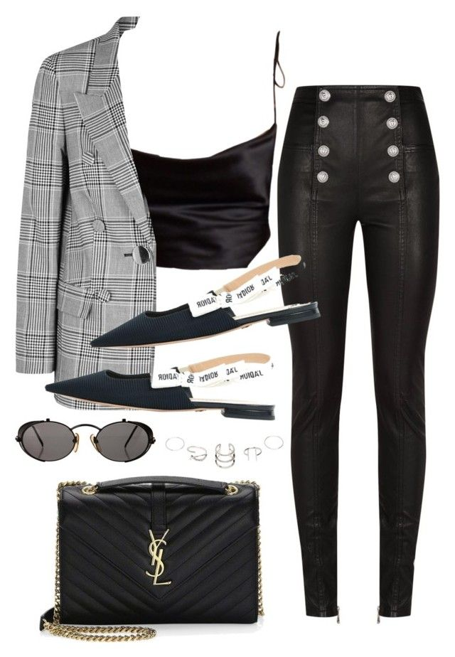 """""""Sin título #4243"""" by camilae97 ❤ liked on Polyvore featuring Balmain, Alexander Wang, Christian Dior, Yves Saint Laurent and Jean-Paul Gaultier"""