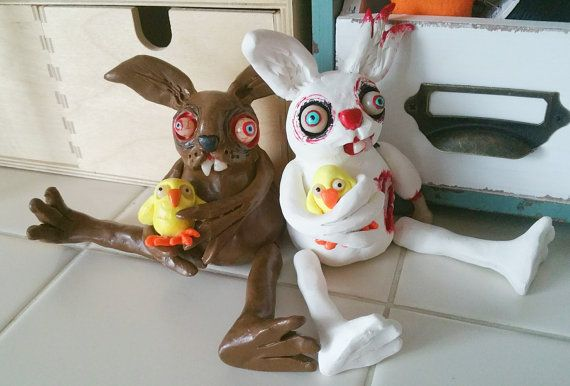 Snuggles the Zombie Bunny Doll by SpikesCuriousWorld on Etsy