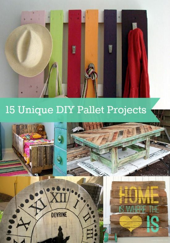 15 Unique DIY Pallet Projects - diycandy.com Pallet hooks for garage would be great for the kids.