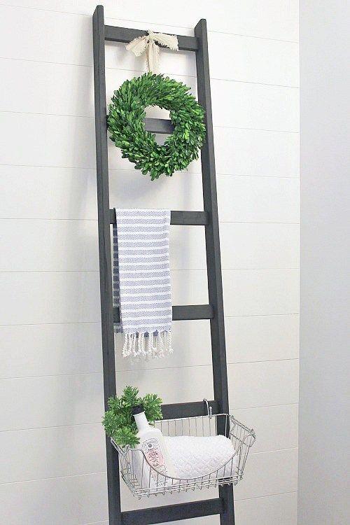 ideas de bricolaje y diy para el cuarto de bao escalera para usar como soporte