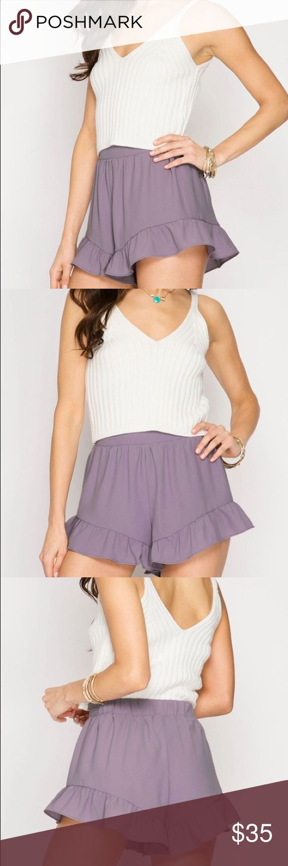 Lilac ruffle shorts New lilac ruffle shirts. Who'll ship out Friday June 23rd new no brand Lulu's Shorts