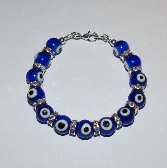 Evil Eye Bracelet with Silver Rhinestone by PawInspiredCreations