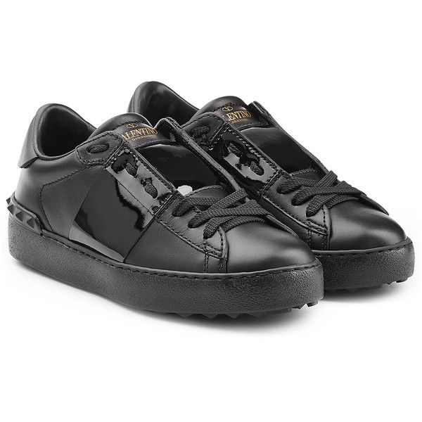 Valentino Open Leather Sneakers (25.375 RUB) ❤ liked on Polyvore featuring shoes, sneakers, black, rubber sole shoes, leather lace up sneakers, black leather sneakers, black shoes and round cap