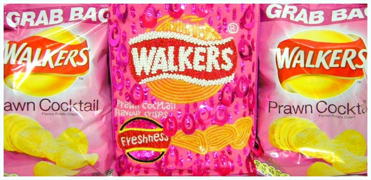my collection: Walker's Crisps Prawn Cocktail Flavour ;) with Anya Hindmarch Sequin Bag *photo by afs