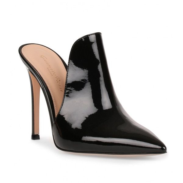 Gianvito Rossi Aramis 105 Patent Black Mule ($695) ❤ liked on Polyvore featuring shoes, black, heels, stiletto shoes, high heel stilettos, black heeled shoes, mule shoes and black mules