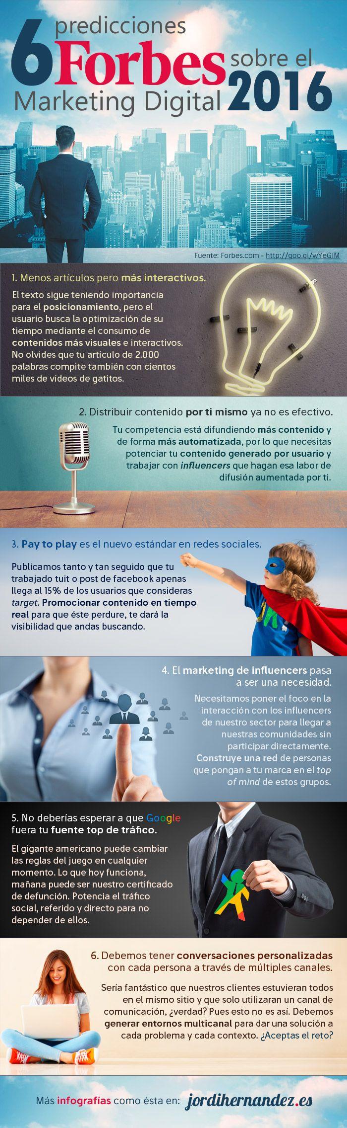 6 predicciones de Forbes sobre Marketing Digital para 2016, vía Jordi Hernández.