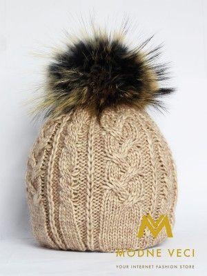 Dámska čiapka s bambuľou z pravej kožušiny 3185/74