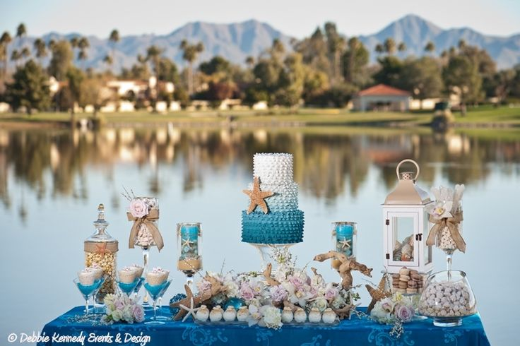 Beach Themed Wedding Dessert Buffet designed by Debbie Kennedy Events & Design. www.debbiekennedyevents.com https://www.facebook.com/DebbieKennedyEvents Featured in Arizona's Finest Wedding Sites & Services.  www.finestweddingsites.com