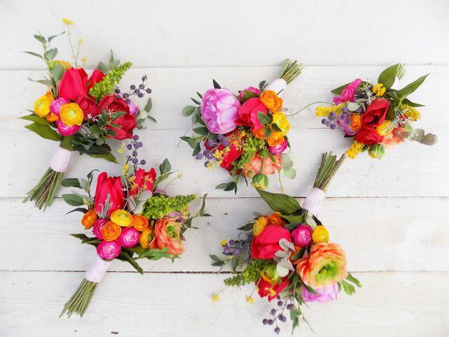 Spring Summer Bridesmaid Bouquet Wedding Flowers Wildflower Peony