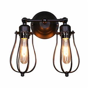 Style américain rustique Fer deux lampes applique muralealuminium abat