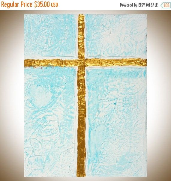 Cross Sign gold blue Acrylic painting wall hangings by QiQiGallery