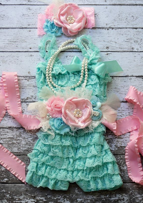 Lace Romper Set,Petti Romper,Girls Sash,Petti Romper Set,Toddler Outfit~Cake Smash~Baby~1st Birthday Outfit~Photo Prop~Girls Pearl Necklace on Etsy, $69.95