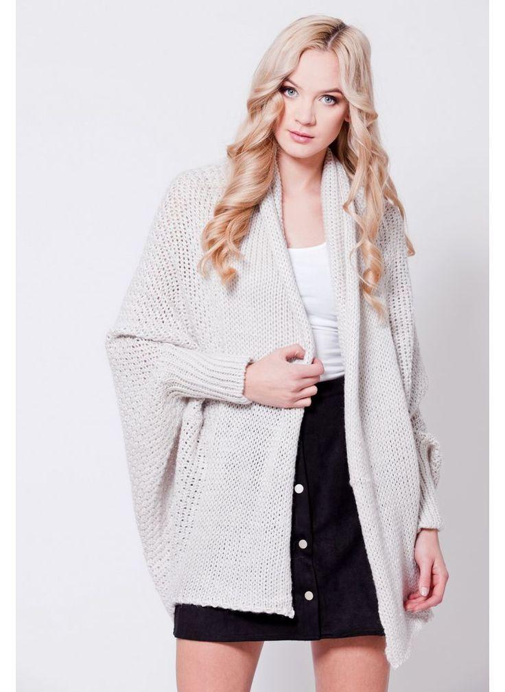 SWETER KARDIGAN OVERSIZED BEŻOWY I CARDIGAN SWEATER BEIGE I  MONASHE.PL - Sklep online z modną odzieżą. Bluzki, sukienki, torebki, obuwie, akcesoria.