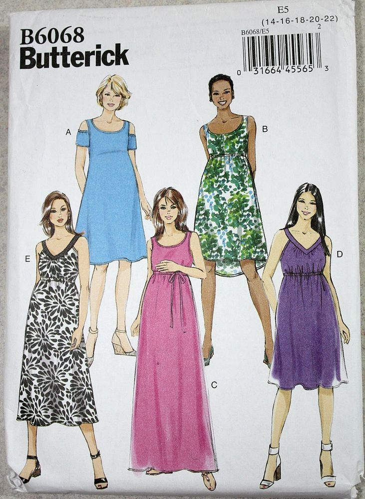cef110b04 BUTTERICK Sewing Pattern B6068 Misses Maternity Dress / Belt ~ Sz 14 16 18  20 22 #Butterick