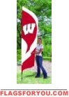 Wisconsin Badgers Tall Team Flag 8.5' x 2.5'