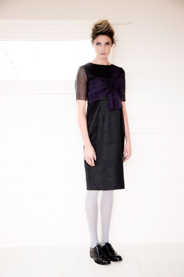 Shift dress with chiffon sleeves and a statement bow worn with studded brogues