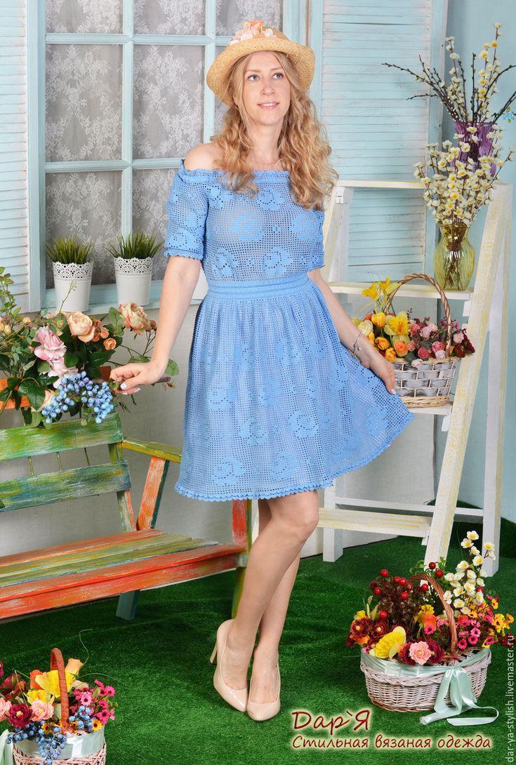"""Купить """"Маленькая Роза"""" вязаное кружевное платьице - платье, вязаное платье, платье с открытой спиной"""
