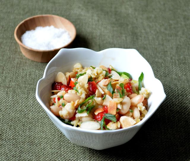 Spanish Style Freekeh Salad ~  Roasted Red Peppers, Toasted Almonds