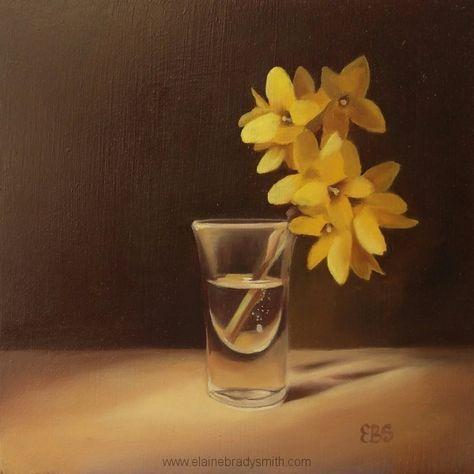 """""""Shot of Forsythia"""" by Elaine Brady Smith, 6x6 oil on panel http://www.elainebradysmith.com"""