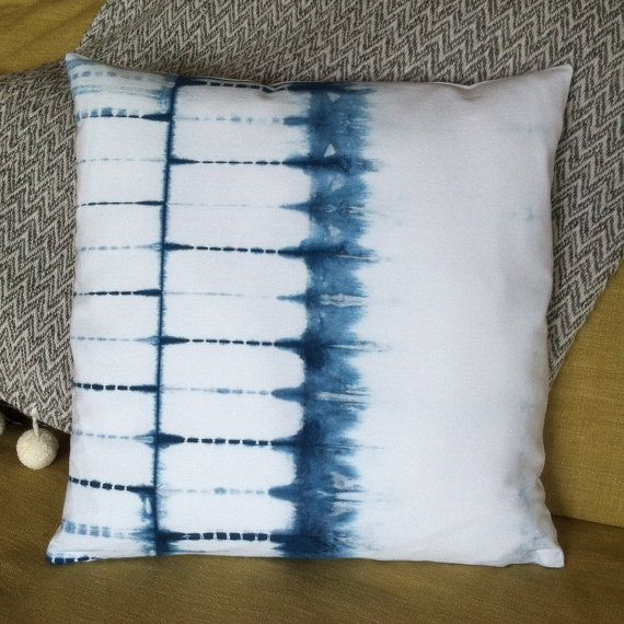 beautiful shibori indigo and white cotton pillow cover pillow cover was hand stitched and hand dyed and has an invisible zipper for inserting pillow form