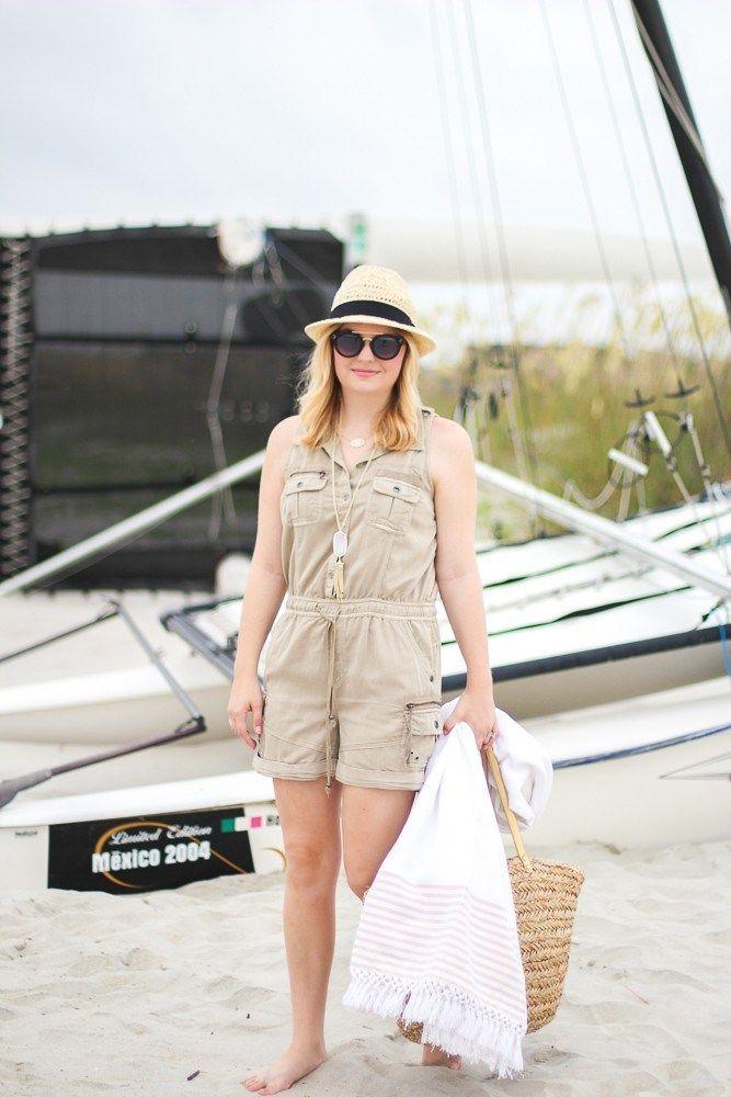 Romper Beach Outfit Ideas Blanket Wicker Bag Summer