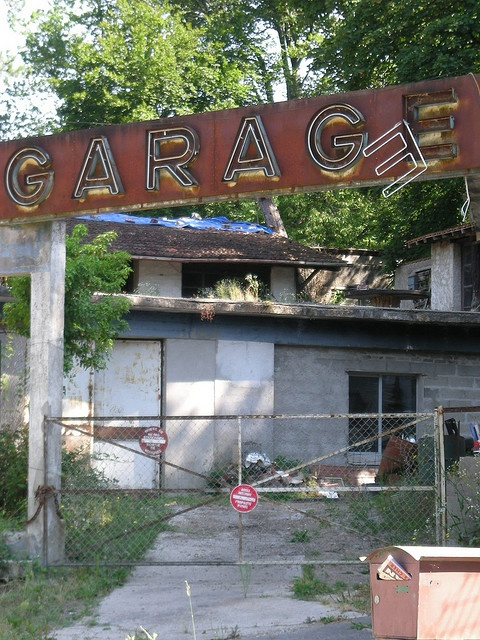 """""""Abandoned Garage"""" -- [The oldest abandoned garage located in *Nationale 7 - Souppes-sur-Loing, Seine-et-Marne, France*]~[Photograph by Jamiecat* (Jamie) - July 28 2008 - Souppes-sur-Loing, Ile-de-France, France]'h4d-286.2013'"""