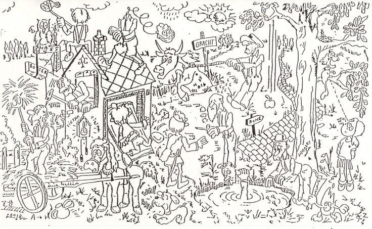 Welke spreekwoorden en gezegden kunnen er in de tekening gevonden worden?