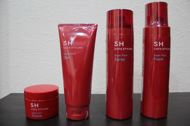 左から SHスーパーハードグリース   SHスーパーハードジェル   SHスーパードスプレー   SHスーパーハードフォーム    各¥1,260    かなり固めのセット剤です。