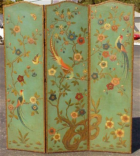 DECORATIVE HAND PAINTED 3 PANEL LEATHER SCREEN: Robin's egg blue