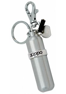 •Aluminum  •Swivel snap fastener  •Split ring for keys  •Disk to tighten and loosen flint screw  •Rubber storage sleeve for two extra Zippo flints