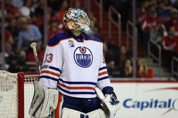 WASHINGTON, DC - FEBRUARY 24: Goalie Cam Talbot #33 of the Edmonton Oilers follows play in the second period against the Washington Capitals at Verizon Center on February 24, 2017 in Washington, DC. (Photo by Rob Carr/Getty Images)