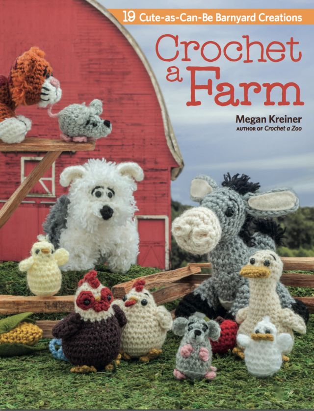 Megan Kreiner keeps knocking it out of the park with her crochet books. Her newest title, Crochet a Farm, is an adorable selection of nineteen cute amigurumi farm animals that are just too irresistibly precious to resist making.