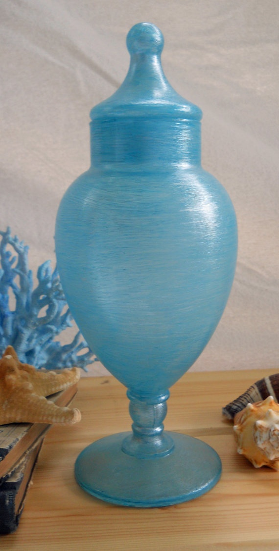 silver thread apothecary jar hand painted two toned blue with a hint of silver threaded throughout...