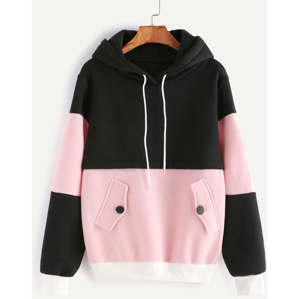 Color Block Drawstring Hooded Sweatshirt ($28) ❤ liked on Polyvore featuring tops, hoodies, color block, color-block hoodie, cotton hooded sweatshirt, cotton hoodies, long hoodies and color block hoodie