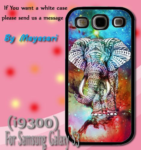 Elephant aztec Galaxy nebula Print On Hard Plastic Samsung Galaxy S3 i9300, Black Case.  Start now! Personalize your Samsung S3 case by uploading your kid's, family photos, or your own selected style.