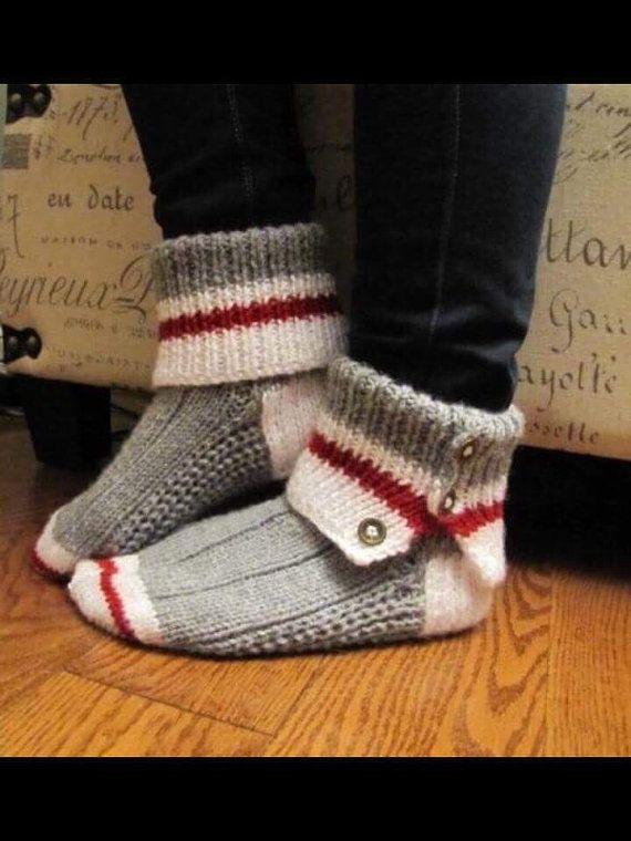 Bas de laine pantoufles faits a la main produits du Québec en