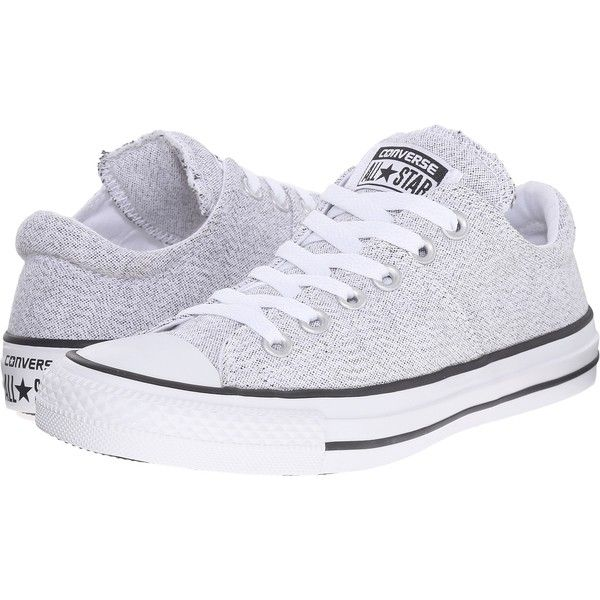 Converse Chuck Taylor All Star Madison Ox (White/Black/White) Women's... ($45) ❤ liked on Polyvore featuring shoes, sneakers, white, white and black shoes, white sneakers, lace up sneakers, black white sneakers and converse shoes