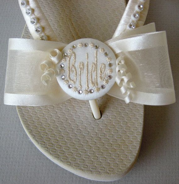 Brides & Wedding Flip Flops ~ For a little different look, satin stripe sheer double bows.