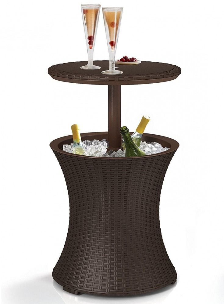 Keter 7.5-Gal Cool Bar Rattan Style Outdoor Patio Pool Cooler Table, Brown  | eBay