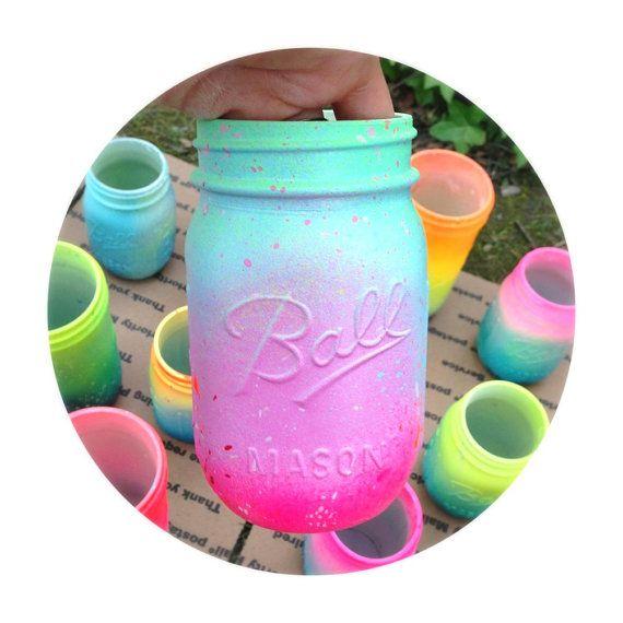 Neon Pink Ombre Galaxy Mason Jar Hand Painted Super by LimbTrim, $17.00