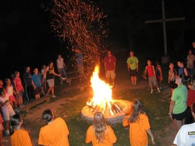 """Campfire song idea for kids (and adults like me. LOL!) The facilitator yells out one word. Going around the campfire, each person sings at least 6 words from a song that includes the main word. (Example - Love.  Songs might include """"How He Loves Us"""", """"Love Will Keep Us Together"""", """"Stop in the Name of Love"""", The Barney Song, etc..) Game continues until another word is picked."""