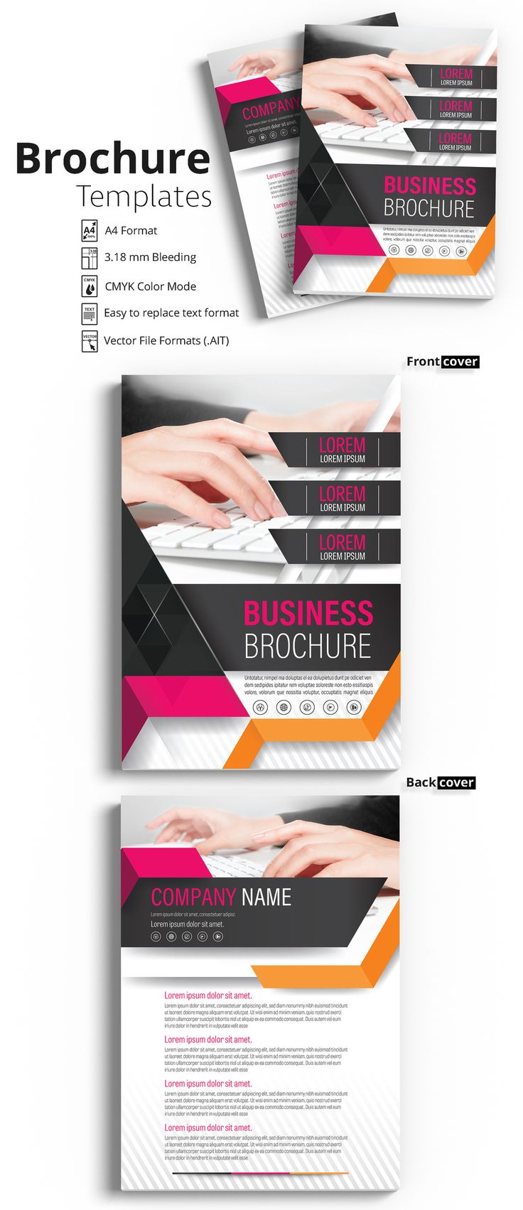 Brochure Cover Layout with Pink and Orange Accents - image | Adobe Stock #Brochure #Business #Proposal #Booklet #Flyer #Template #Design #Layout #Cover #Book #Booklet #A4 #Annual #Report| Brochure template | Brochure design template | Flyers | Template | Brochures | Flyer Background | Background design | Business Proposal | Proposal Design | Booklet | Professional | Professional - Proposal - Brochure - Template