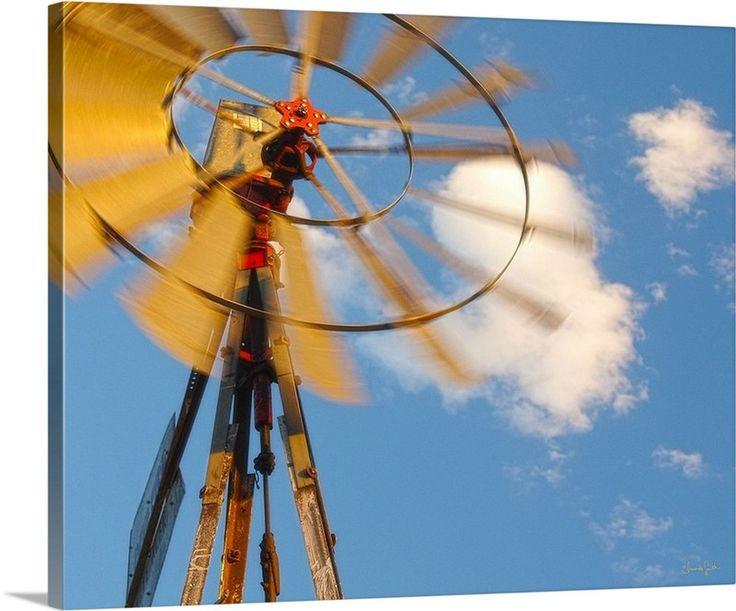Red Wind Windmill Canvas Print